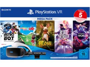 SONY PS VR Mega Pack 3 inkl. PS VR-Headset / PS Camera / PS Camera-Adapter / 5 Spiele (Gutscheincode) Zubehörset, Schwarz