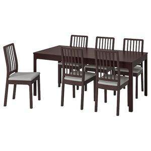 EKEDALEN / EKEDALEN Tisch und 6 Stühle, dunkelbraun/Orrsta hellgrau