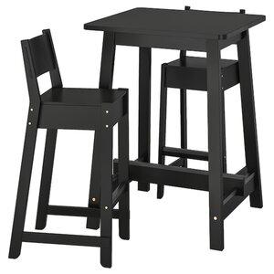 NORRÅKER / NORRÅKER Theke + 2 Barstühle, schwarz/schwarz