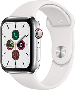 Apple Watch Series 5 (GPS + Cellular, 44 mm) Edelstahlgehäuse - Sportarmband Weiß
