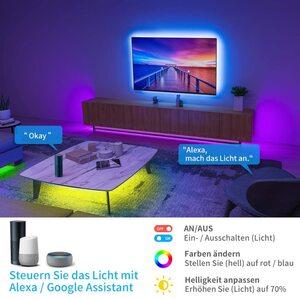 Govee WiFi LED Strip 5m, Smart RGB LED Streifen, App-steuerung, Farbwechsel, Musik Sync, funktioniert mit Alexa und Google Assistant [Energieklasse A]