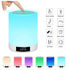 Nachtlichttischlampe Bluetooth-Lautsprecher,Ranipobo-Berührungssensor-Nachttischlampe mit Wecker, MP3-Musik-Player, FM-Radio, LED-Lampe mit dimmbare warme Lichter7 Farben Kinder