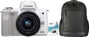 Canon »EOS-M50 EF-M15-45 Kit« Systemkamera (EF-M 15-45, 24,1 MP, NFC, WLAN (Wi-Fi), Bluetooth, + Rucksack CB-BP100 + 32GB SD Class 10 + 10 € FGS)