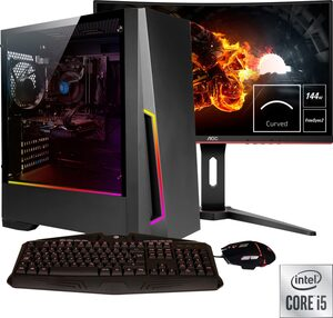 Hyrican »Pandora SET2021« Gaming-PC (27 Zoll, Intel Core i5, GTX 1660 Ti, 16 GB RAM, 1000 GB HDD, 960 GB SSD, 2-tlg, inkl. Office-Anwendersoftware Microsoft 365 Single im Wert von 69 Euro)