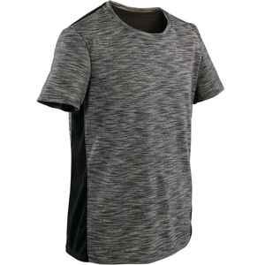 T-Shirt atmungsaktive Baumwolle 500 Gym Kinder dunkelgrau melliert