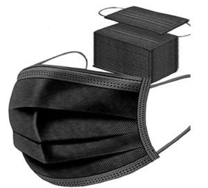 50 Stück Schwarze Einweg-Gesichtsmasken, atmungsaktiv, Staubmaske, Dehnbare elastische Ohrschlaufen(Schwarz 50 Stück)