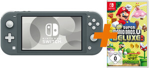 NINTENDO Switch Lite grau + + New Super Mario Bros. U Deluxe Switch Spielkonsole (5,5 Zoll (14 cm) / 32 GB)