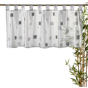Esposa KURZGARDINE 140/48 cm , 184773 BG Quadro 07 , Grau, Weiß , Textil , 140x48 cm , 003301009202