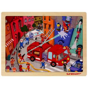 My Baby Lou Puzzle , Feuerwehr , Blau, Grau, Multicolor, Rot , 22.5x0.8x30 cm , bedruckt,Echtholz , 004131005601