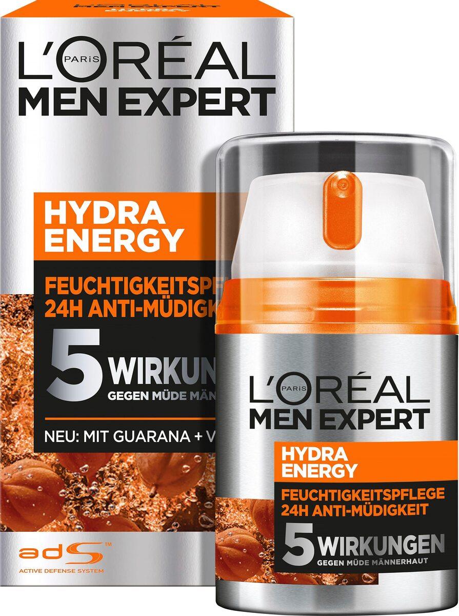 Bild 1 von L'ORÉAL PARIS MEN EXPERT Feuchtigkeitscreme »Hydra Energy 24H Anti-Müdigkeit«, Feuchtigkeitspflege mit Vitamin C & Guarana