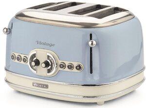 Ariete Toaster Vintage, 4 kurze Schlitze, für 4 Scheiben, 1630 W, blau