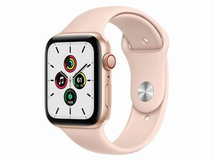 Apple Watch SE, GPS & Cellular, 44 mm, Aluminium gold, Sportarmband sandrosa