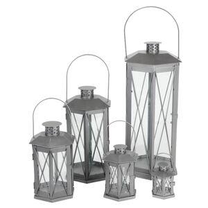 Metall-Laternen 5er-Set Silber-Grau