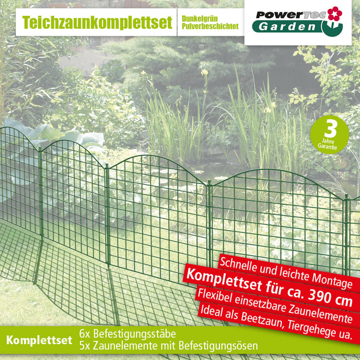 Bild 1 von Powertec Garden Teichzaun Oberbogen, Dunkelgrün