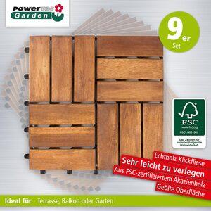 Powertec Garden Massivholz-Klickfliese, ca. 30 x 30 cm, 9er-Set
