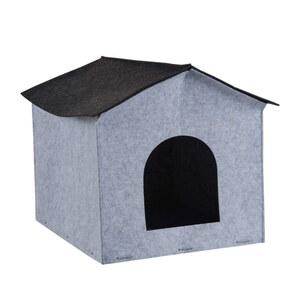 Hunde- oder Katzenhäuschen in Grau Filz