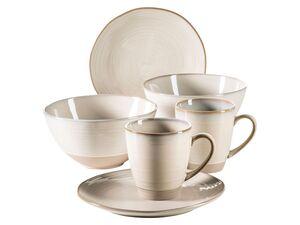 MÄSER Serie Nottingham, Vintage Geschirr-Set für 2 Personen, 6-teiliges Frühstücksgeschirr mit Frühstücksteller, Kaffeetasse und großer Müslischale, Beige, Steinzeug