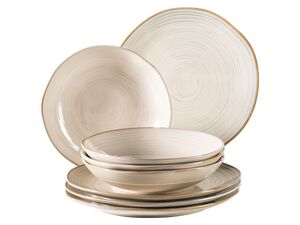 MÄSER Serie Nottingham, Vintage Teller-Set für 4 Personen, 8-teiliges Tafel-Service mit Speiseteller und Suppenteller im Retro-Look, Beige, Steinzeug