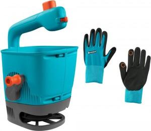 Gardena Handstreuer M + Handschuhe M ,  1x Handstreuer M (00431-20), Handstreuer Fassungsvermögen 1,8 Liter, 1 Paar Pflanz- und Bodenhandschuhe Größe M (11511-20)