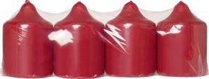 Bolsius Stumpenkerze 4er Set ,  rot, Höhe: 7,8 cm , Ø 5,6 cm