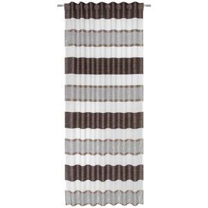 Esposa Fertigvorhang transparent 135/245 cm , Mauro , Braun, Creme, Beige , Textil , Streifen , 135x245 cm , für Stange und Schiene geeignet, mit Kombiband , 004789048901