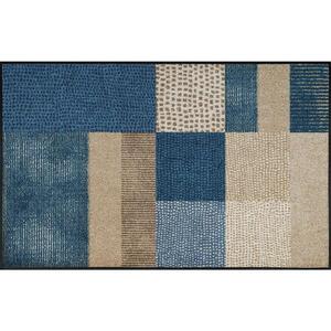 Esposa Fußmatte 75/120 cm graphik blau, beige , Lanas 068334 , Textil , 75x120 cm , rutschfest, für Fußbodenheizung geeignet , 004336020652