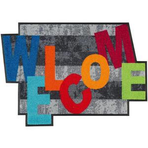 Esposa Fußmatte 60/85 cm texte grau, multicolor , Crazy Welcome , Textil , 60x85 cm , rutschfest, für Fußbodenheizung geeignet , 004336034792
