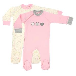My Baby Lou Schlafanzugset 2-tlg. , 439201 , Anthrazit, Creme, Grau, Hellrosa , Textil , Katze , onesize , Interlock-Jersey , einteilig , 005666050106