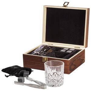 XXXLutz Whisky-set , 10054444 , Anthrazit, Naturfarben, Schwarz , Holz, Metall, Glas, Stein , 21x18x10 cm , Naturstein,Schiefer, Speckstein , 003579021002