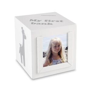 My Baby Lou Spardose , Meine Erste Spardose , Grau, Weiß , Kunststoff, Papier , Tier , 10x10x10 cm , lackiert,glänzend,Nachbildung , 006318000301