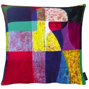 Esposa Kissenhülle blau, gelb, lila, rot, schwarz , Taro , Textil , Abstraktes , 004140033401