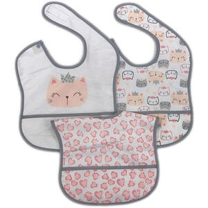 My Baby Lou Lätzchen , Lätzchen , Grau, Weiß, Pink , Textil , Animalprint , 28x40 cm , Textilgeflecht , Auffangschale , 007162006701