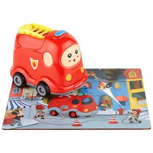 My Baby Lou Holzpuzzle mit feuerwehrauto , Feuerwehr Inkl Puzzle , Multicolor, Rot , Kunststoff , 10x15x14.6 cm , bedruckt,glänzend,Echtholz , 004131005903