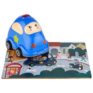 My Baby Lou Holzpuzzle mit polizeiauto , Polizei Inkl. Puzzle , Blau, Multicolor, Türkis , Kunststoff , 10x15x14.6 cm , bedruckt,glänzend,Echtholz , 004131005902