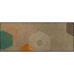 Esposa Fußmatte 75/190 cm grün, beige , Callisto , Textil , 75x190 cm , rutschfest, für Fußbodenheizung geeignet , 004336033198