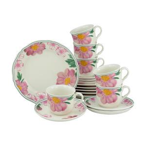 Creatable Porzellan kaffeeservice 18-teilig , Alba Rose Kaffeeservice 22754 , Rosa, Weiß , Keramik , Blume , 200 ml,200 ml , 25x31x33 cm , 007768034401