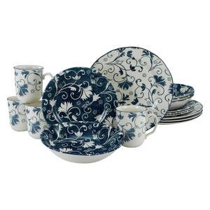 Creatable Steingut kombiservice 16-teilig , Damask blau Kombiservice 22258 , Blau, Weiß , Keramik , Floral , 340 ml,400 ml , 26.5x40x43.5 cm , 007768034701