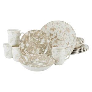 Creatable Steingut kombiservice 16-teilig , Damask beige Kombi 22256 , Weiß, Beige , Keramik , Floral , 340 ml,400 ml , 26.5x40x43.5 cm , 007768034702