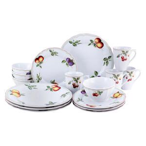 Creatable Porzellan kombiservice 16-teilig , Flora Orchard Kombi 16999 , Weiß , Keramik , Obst , 300 ml,400 ml , 31.5x31x35.5 cm , 0077680349