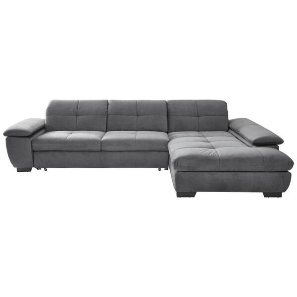 Xora Ecksofa grau velours , 7576 -Exklusiv- , Textil , Uni , 3-Sitzer , Velours , Stoffauswahl, seitenverkehrt erhältlich , 002527020729
