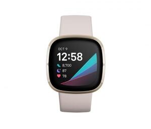 Fitbit Smartwatch Sense weiß/gold ,  Gesunheits und Fitnesstracker