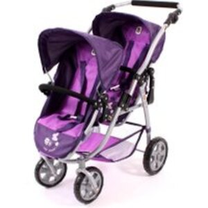 Puppen Tandem Buggy Vario Pflaume