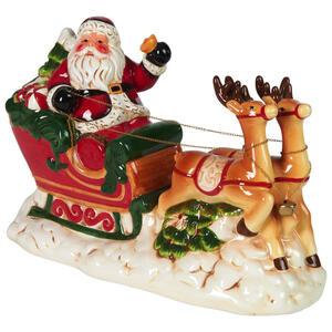 X-Mas Weihnachtsmann grün, rot, weiß, dunkelbraun , Nx129340-6Dz , Keramik , Weihnachtsmann , 14.2x21.3x31.7 cm , lackiert , 0035600005