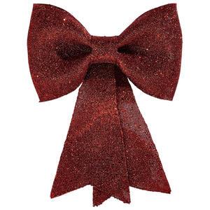 X-Mas Dekoschleife rot , 517497 , Kunststoff , Glitzer , 31x23x2.5 cm , 003754006001