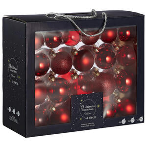 X-Mas Christbaumkugel-set 42-teilig rot, dunkelrot , 149252 , Glas , Weihnachten , 5 cm Schubladen , 003754190205