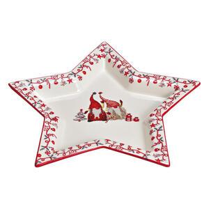 X-Mas Dekoteller , 10025987 , Rot, Weiß , Keramik , Stern , 30x3x29 cm , 003579025001