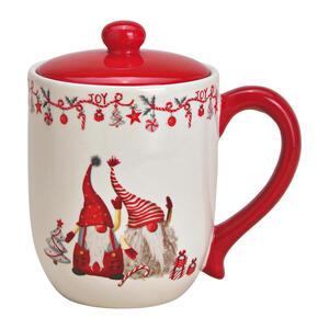 X-Mas Dekodose , 10025990 , Rot, Weiß , Keramik , Weihnachten , 16x17x12 cm , 003579025102