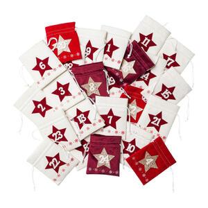 X-Mas Adventskalender creme, rot, bordeaux , 4320556-01 , Textil , 10x13 cm , zum Befüllen, zum Stellen, zum Hängen , 004297215201