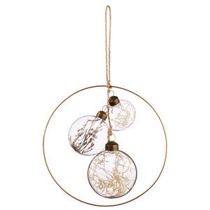 X-Mas Christbaumanhänger naturfarben, transparent, bronzefarben , 061070 , Metall, Glas , zum Hängen , 003754136001
