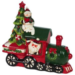 X-Mas Weihnachtsmann grün, rot , Nx149022Dz , Keramik , Weihnachtsmann , 28x26x11.1 cm , lackiert , Kunsthandwerk, handgemacht, handgemalt , 0035600007